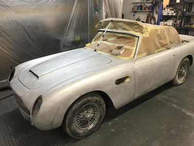 Aston Martin DB6 Volante - All filler and paint removed, panels gaps next