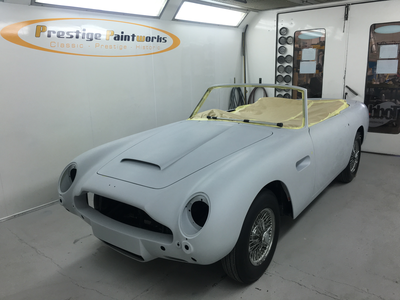 Aston Martin DB6 Volante Restoration -All panel gaps consistent, levelled, polyestered and prepped ready for body colour