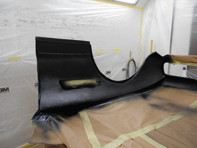 Aston Martin DBS Restoration - front clip epoxy primed and 2k plyurethane stone chipped