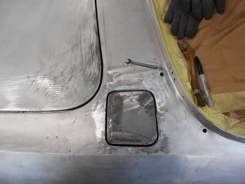 Aston Martin DB6 Volante Restoration -right hand fuel flap gaps improved