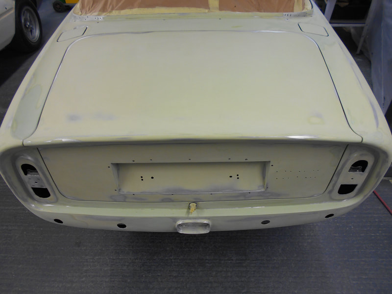 Aston Martin DB6 Volante Restoration -levelling complete after regapping the bootlid