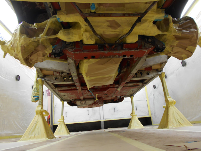 Aston Martin DB6 Volante Restoration -underside masked ready for epoxy