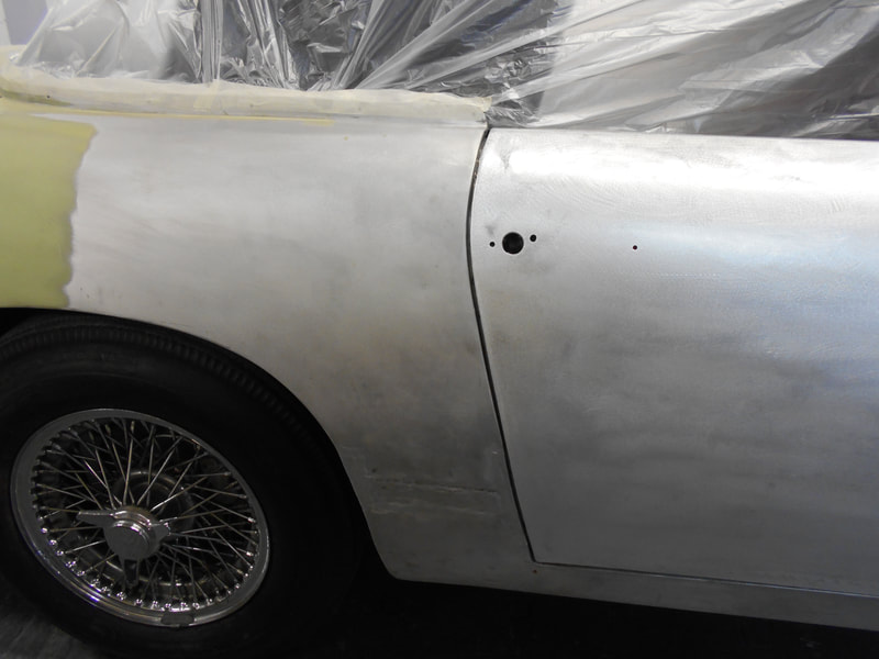 Aston Martin DB6 Volante Restoration -right hand door skin fitted