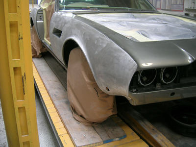 Aston Martin DBS Restoration - paint and filler removal